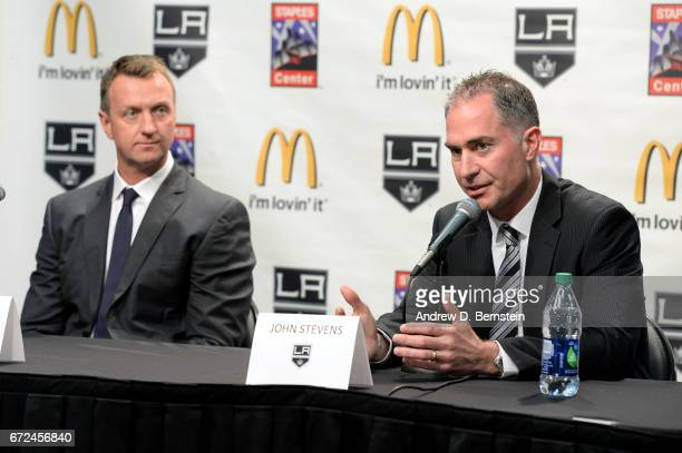 Los Angeles Kings Head Coach John Stevens addresses the media alongside Los Angeles Kings Vice President and General Manager Rob Blake during a press...