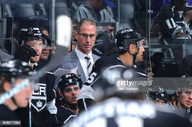 Los Angeles Kings Head Coach John Stevens looks on from the bench during a game against the Vancouver Canucks at STAPLES Center on September 16 2017...
