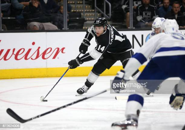 Los Angeles Kings left wing Michael Cammalleri attempts a shot on goal during the game against the Tampa Bay Lightning on November 09 at the Staples...