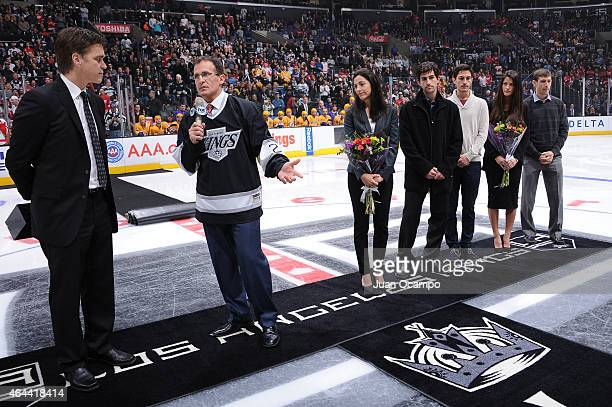 Los Angeles Kings Legend and Detroit Red Wings assistant coach Tony Granato speaks to the crowd during a pre game ceremony in his honor as part of...