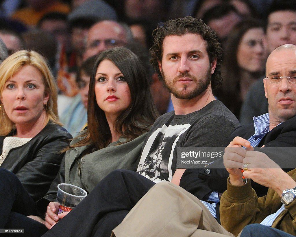 Los Angeles Kings Mike Richards (R) and Lindsey MacDonald attend a basketball game between the Los Angeles Clippers and the Los Angeles Lakers at Staples Center on February 14, 2013 in Los Angeles, California.