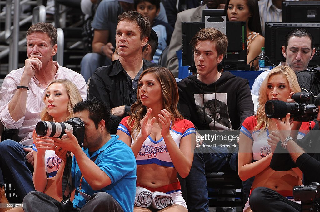 Los Angeles Kings President, Luc Robitaille, attends a game between the Los Angeles Clippers and the Detroit Pistons at STAPLES Center on March 22, 2014 in Los Angeles, California.