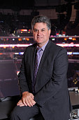 Los Angeles Kings radio broadcaster Nick Nickson poses for a photo prior to a game between the Los Angeles Kings and the Columbus Blue Jackets at...