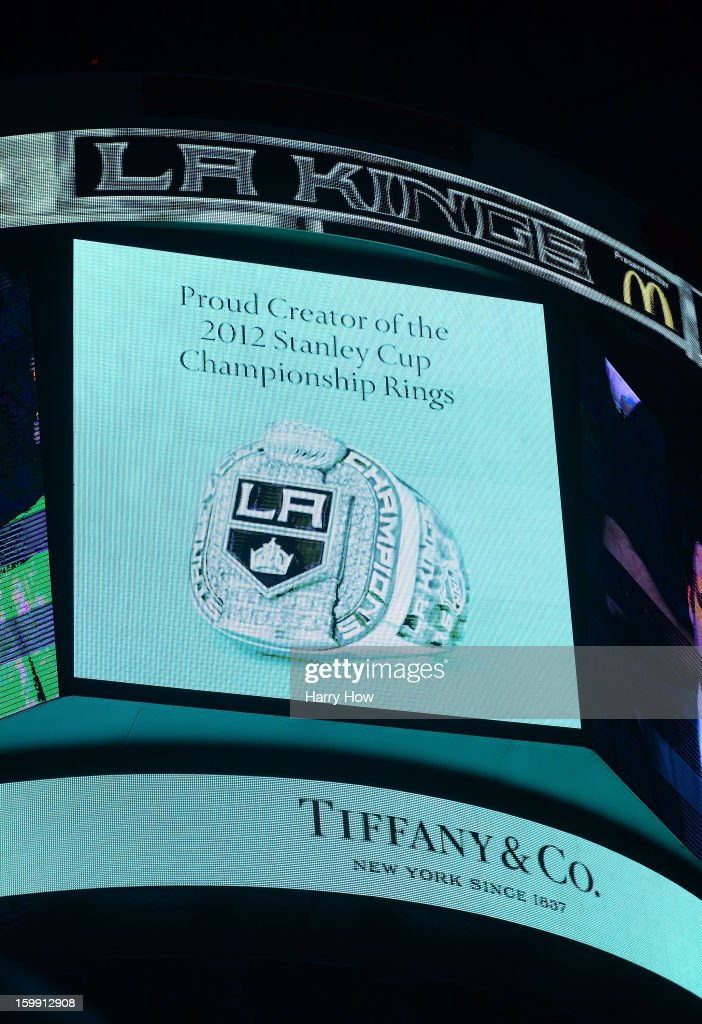 Los Angeles Kings Stanley Cup ring by Tiffany is displayed on the jumbotron during a ceremony before the game against the Chicago Blackhawks at Staples Center on January 19, 2013 in Los Angeles, California.