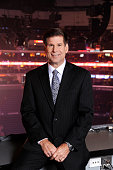 Los Angeles Kings TV broadcaster Jim Fox poses for a photo prior to a game between the Los Angeles Kings and the Columbus Blue Jackets at STAPLES...