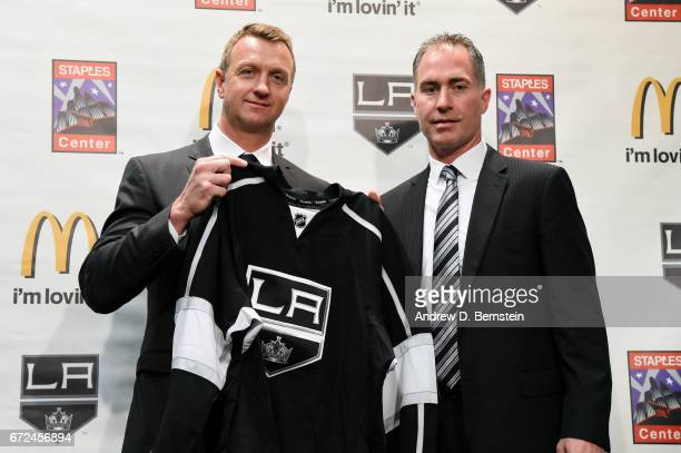 Los Angeles Kings Vice President and General Manager Rob Blake and Los Angeles Kings Head Coach John Stevens pose for a photo during a press...