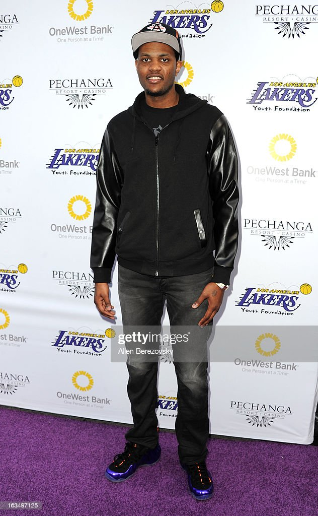Los Angeles Laker Devin Ebanks attends the Lakers Casino Night fundraiser benefiting the Lakers Youth Foundation at Club Nokia on March 10, 2013 in Los Angeles, California.