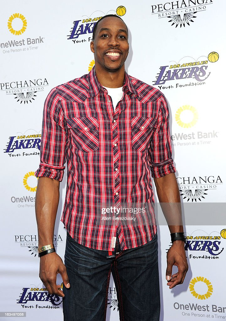 Los Angeles Laker <a gi-track='captionPersonalityLinkClicked' href=/galleries/search?phrase=Dwight+Howard&family=editorial&specificpeople=201570 ng-click='$event.stopPropagation()'>Dwight Howard</a> attends the Lakers Casino Night fundraiser benefiting the Lakers Youth Foundation at Club Nokia on March 10, 2013 in Los Angeles, California.