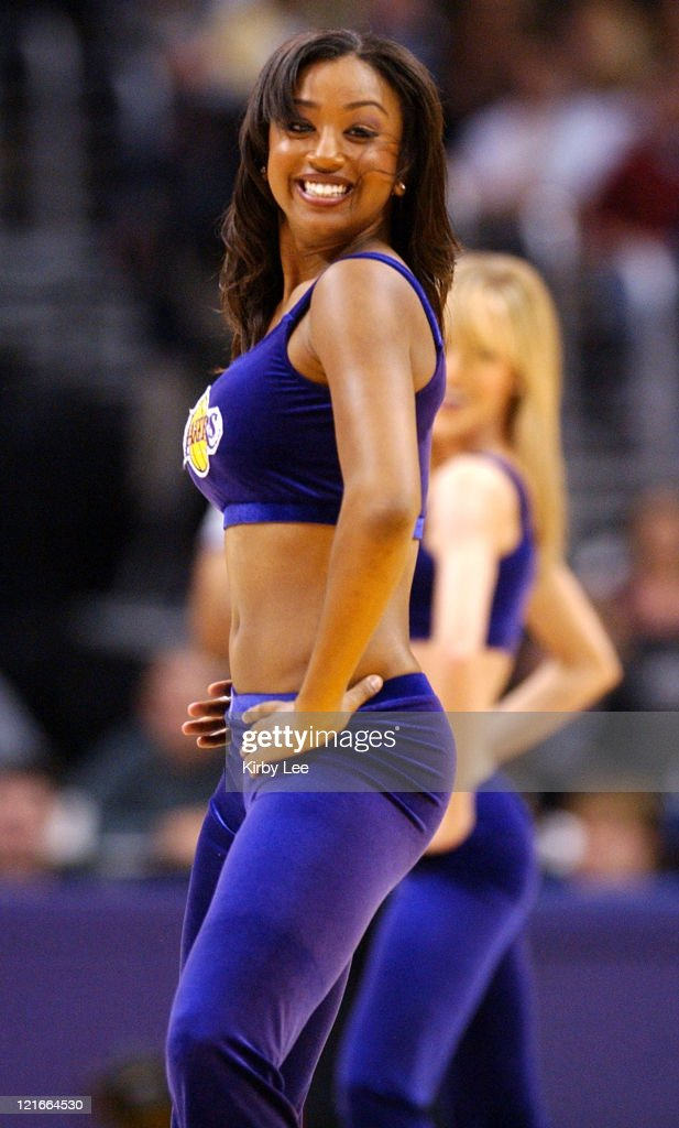 Los Angeles Laker Girl cheerleader Danielle Acoff performs during the game between the Seattle SuperSonics and the Los Angeles Lakers at the Staples...
