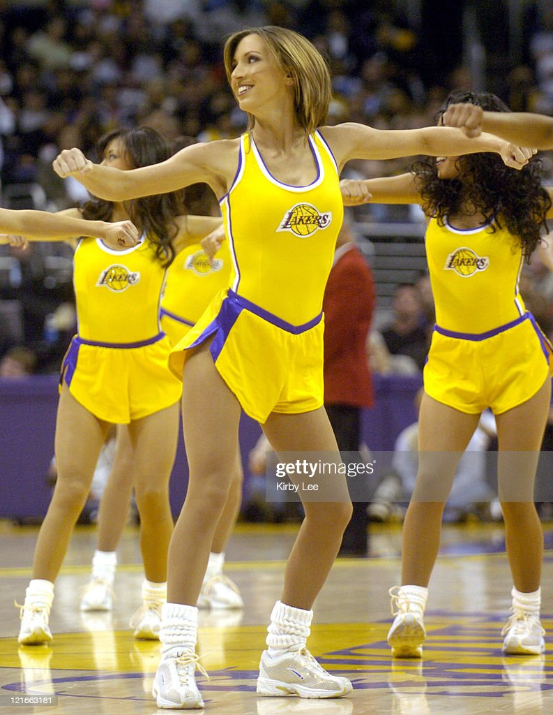 Los Angeles Laker Girl cheerleaders perform during the NBA game between the Los Angeles Lakers and the Houston Rockets at the Staples Center in Los...