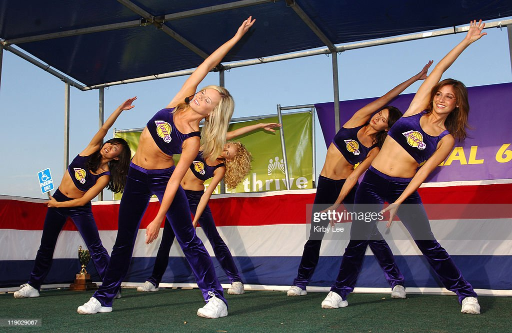 Los Angeles Laker Girls cheerleaders Allison Lindauer Nancy Karr Tiffany Finn Jahnel Curfman and Jenna Mannos lead stretching exercises at the 13th...