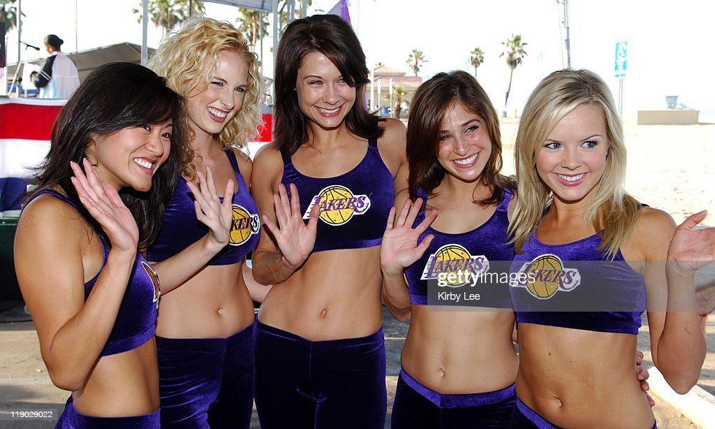 Los Angeles Laker Girls cheerleaders Allison Lindauer Tiffany Finn Jahnel Curfman Jenna Mannos and Nancy Karr at the 13th annual Keep LA Running 5...