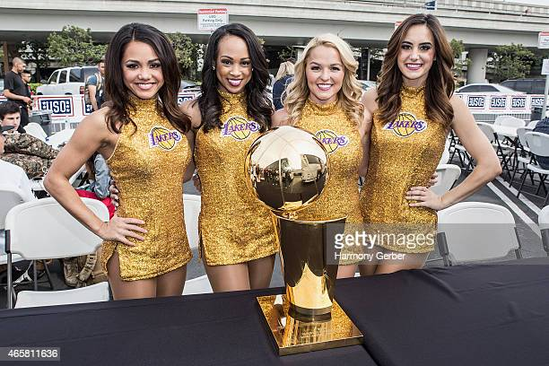 Los Angeles Laker Girls meet US Troops at Bob Hope USO at LAX on March 10 2015 in Los Angeles California