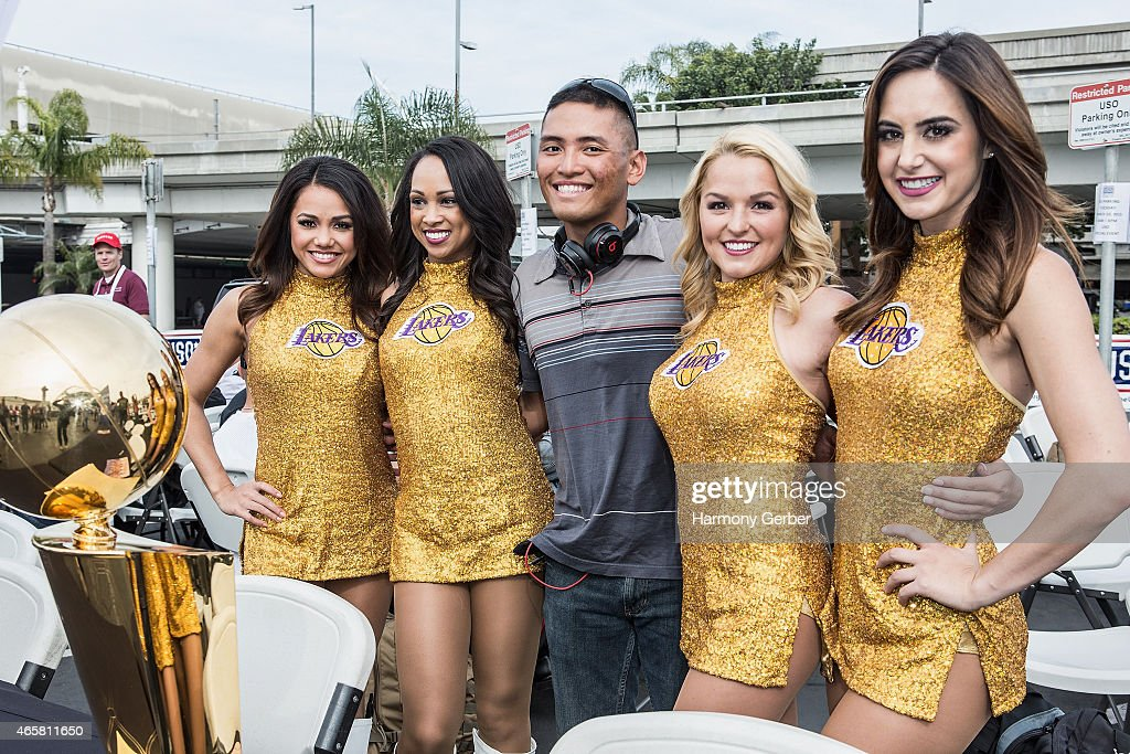 Los Angeles <a gi-track='captionPersonalityLinkClicked' href=/galleries/search?phrase=Laker+Girls&family=editorial&specificpeople=260271 ng-click='$event.stopPropagation()'>Laker Girls</a> meet U.S. Troops at Bob Hope USO at LAX on March 10, 2015 in Los Angeles, California.