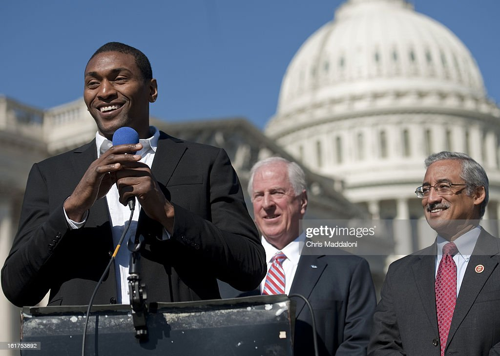 Los Angeles Laker Metta World Peace; Rep. Mike Thompson, D-Calif.; and Rep. Bobby Scott, D-Va., speak at a news conference at the Capitol to promote the Mental Health in Schools Act and de-stigmatize the issue of mental illness. World Peace was known as Ron Artest before legally changing his name in September 2011.