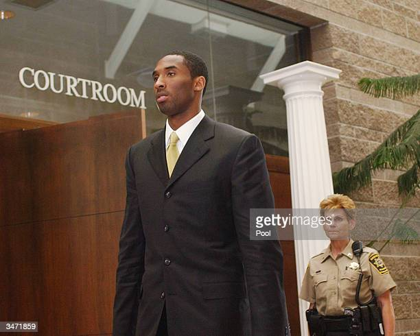 Los Angeles Lakers basketball player Kobe Bryant leaves the courtroom at the Eagle County Justice Center April 27 2004 in Eagle Colorado Bryant will...