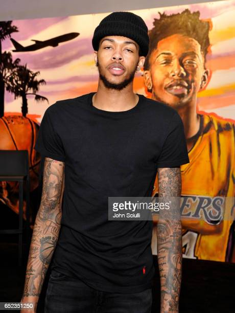 Los Angeles Lakers' Brandon Ingram atttends Delta's first 'Beyond The Court Event' where he teams up with iconic street artist Jonas Never to create...