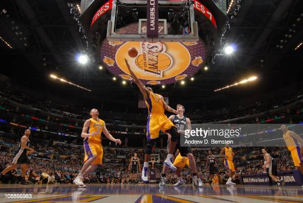 Los Angeles Lakers center Andrew Bynum goes to the basket during a game against the San Antonio Spurs at Staples Center on February 3 2011 in Los...
