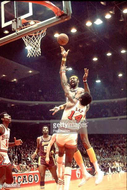 Los Angeles Lakers center Wilt Chamberlain goes up for two points against the Chicago Bulls Chicago Illinois 1972