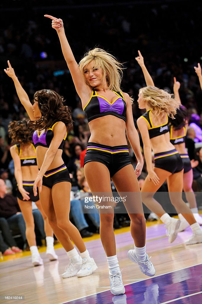 Los Angeles Lakers dancers perform during a game against the Portland Trail Blazers at Staples Center on February 22, 2013 in Los Angeles, California.