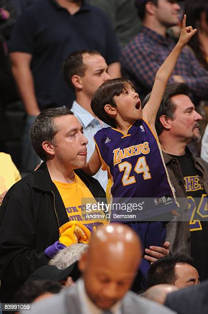 Los Angeles Lakers fan cheers his team on against the Phoenix Suns at Staples Center on December 10 2008 in Los Angeles California NOTE TO USER User...