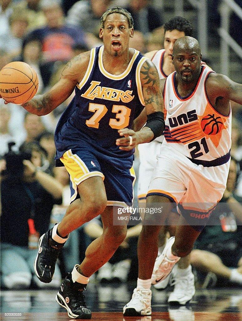 Los Angeles Lakers forward Dennis Rodman L is ch