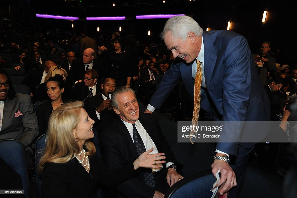 Los Angeles Lakers General Manager Mitch Kupchak speaks with Pat Riley before the memorial service for Los Angeles Lakers Owner Dr. Jerry Buss at Nokia Theatre LA LIVE on February 21, 2013 in Los Angeles, California.