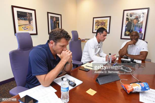 Los Angeles Lakers General Manager Rob Pelinka Head Coach Luke Walton and President of Basketball Operations Magic Johnson meet in the draft room...