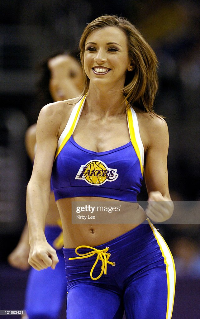 A Los Angeles Lakers girl cheerleader performs during the game between the Los Angeles Lakers and the Portland Trail Blazers at the Staples Center in...