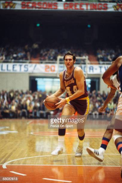 Los Angeles Lakers' guard Jerry West dribbles during a game NOTE TO USER User expressly acknowledges and agrees that by downloading and or using this...
