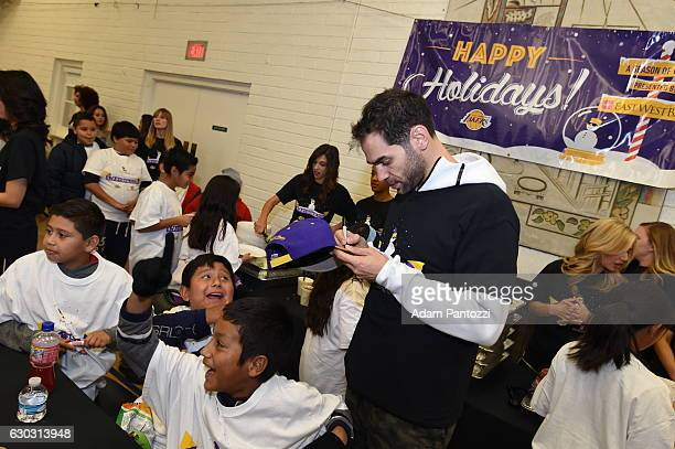 Los Angeles Lakers guard Jose Calderon along with other players coaches and the Laker Girls hosts a holiday party for 100 kids from LAs BEST at...