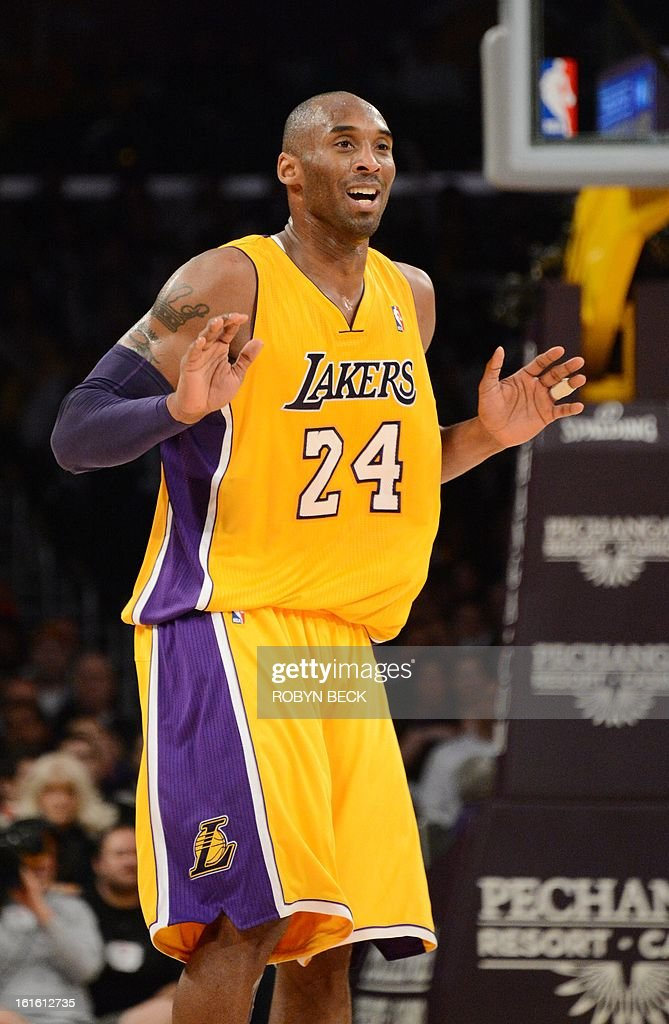 Los Angeles Lakers Kobe Bryant reacts after missing a shot during the NBA match up against the Phoenix Suns at Staples Center in Los Angeles, California, February 12, 2013. The Lakers defeated the Suns, 91-85. AFP PHOTO Robyn BECK