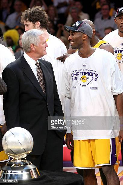 Los Angeles Lakers legend Jerry West and Kobe Bryant of the Los Angeles Lakers smiles after defeating the San Antonio Spurs in Game Five of the...
