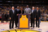 Los Angeles Lakers legends Jerry West James Worthy Elgin Baylor Shaquille O'Neal Phil Jackson and Jamaal Wilkes pose for a photograph at Staples...