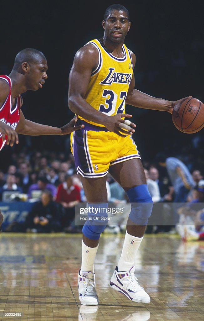 Los Angeles Lakers' Magic Johnson dribbles during a game NOTE TO USER User expressly acknowledges and agrees that by downloading and/or using this...