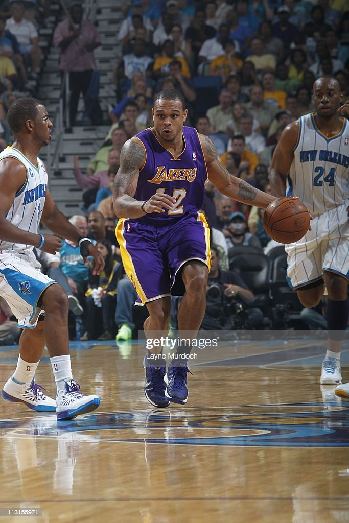 Los Angeles Lakers point guard Shannon Brown brings the ball up court during the action against the New Orleans Hornets in Game Four of the Western...