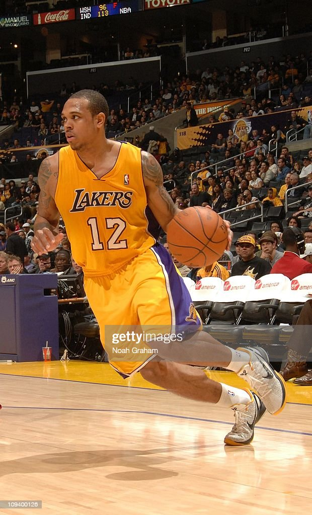 Los Angeles Lakers point guard Shannon Brown drives during the game against the Atlanta Hawks at Staples Center on February 22 2011 in Los Angeles...