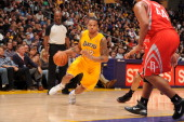 Los Angeles Lakers point guard Shannon Brown drives to the basket during a game against the Houston Rockets at Staples Center on February 1 2011 in...