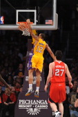 Los Angeles Lakers point guard Shannon Brown dunks the ball during the game against the Atlanta Hawks at Staples Center on February 22 2011 in Los...