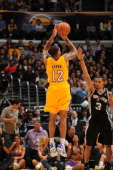 Los Angeles Lakers point guard Shannon Brown goes for a jump shot during a game against the San Antonio Spurs at Staples Center on February 3 2011 in...
