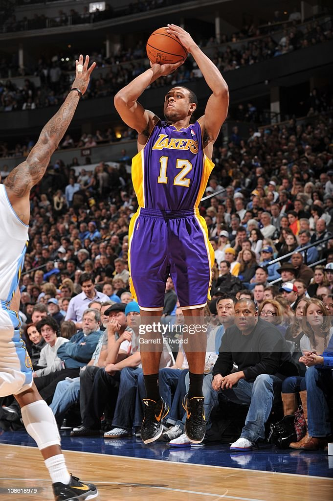 Los Angeles Lakers point guard Shannon Brown goes for a jump shot during the game against the Denver Nuggets on January 21 2011 at the Pepsi Center...