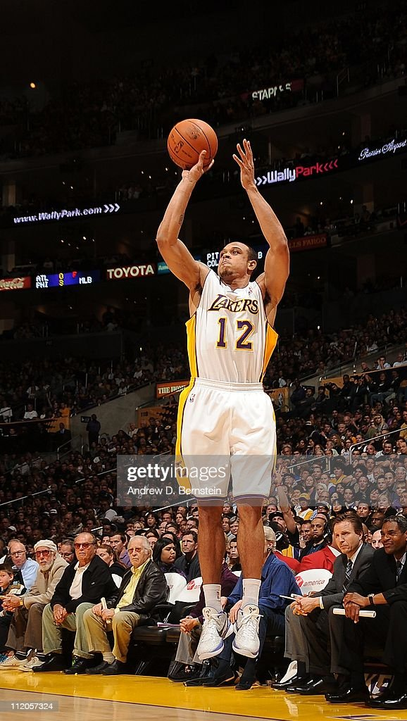 Los Angeles Lakers point guard Shannon Brown goes for a jump shot during the game against the Oklahoma City Thunder at Staples Center on April 10...
