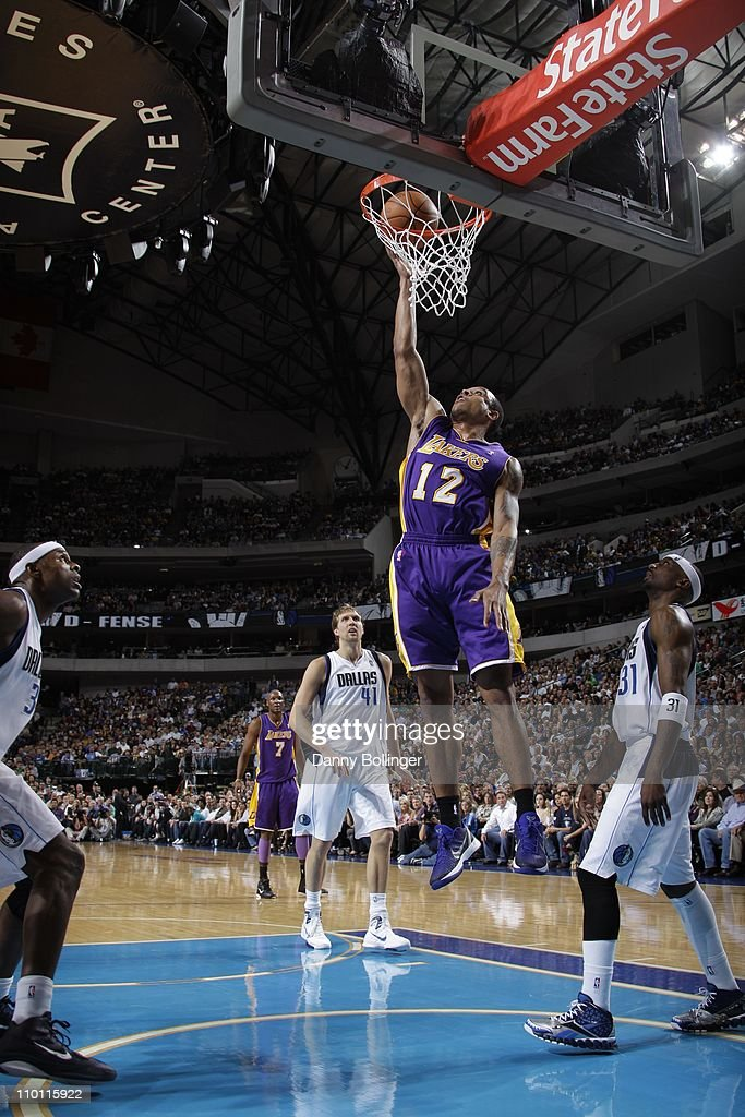 Los Angeles Lakers point guard Shannon Brown goes to the basket during the game against the Dallas Mavericks on March 12 2011 at the American...