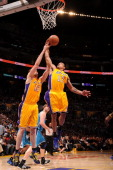 Los Angeles Lakers point guard Shannon Brown goes to the basket during the game against the New Orleans Hornets in Game Five of the Western...