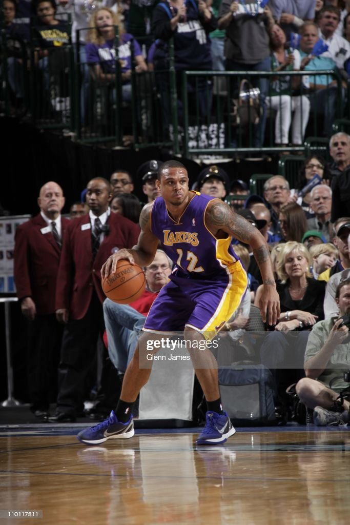 Los Angeles Lakers point guard Shannon Brown protects the ball during the game against the Dallas Mavericks on March 12 2011 at the American Airlines...