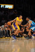 Los Angeles Lakers point guard Shannon Brown protects the ball during the game against the New Orleans Hornets in Game Five of the Western Conference...
