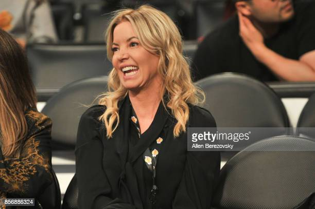 Los Angeles Lakers president Jeanie Buss enjoys the Lakers game against the Denver Nuggets at Staples Center on October 2 2017 in Los Angeles...