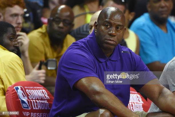 Los Angeles Lakers president of basketball operations Earvin 'Magic' Johnson watches the Lakers take on the Boston Celtics during the 2017 Summer...