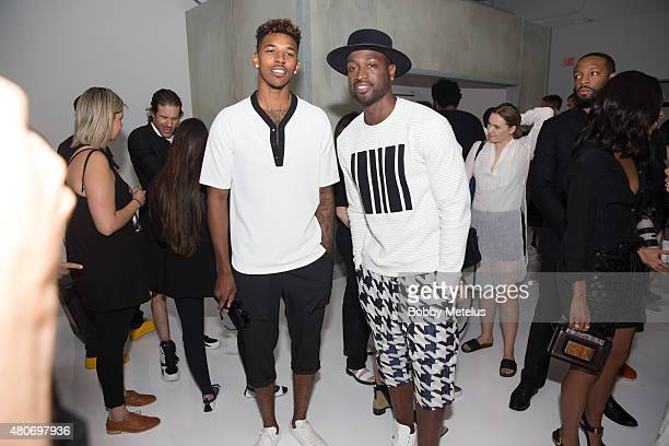 Los Angeles Lakers' s Nick Young and Miami Heat Dwyane Wade are seen during New York Fashion Week Men's on July 14 2015 in New York New York