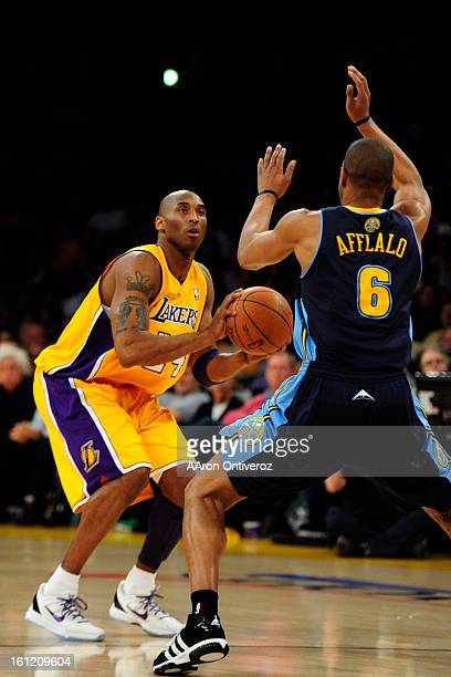 e96400aab02 Los Angeles Lakers shooting guard Kobe Bryant (24) defended by Denver  Nuggets shooting guard Arron Afflalo (6) during the first half of game five  in their ...
